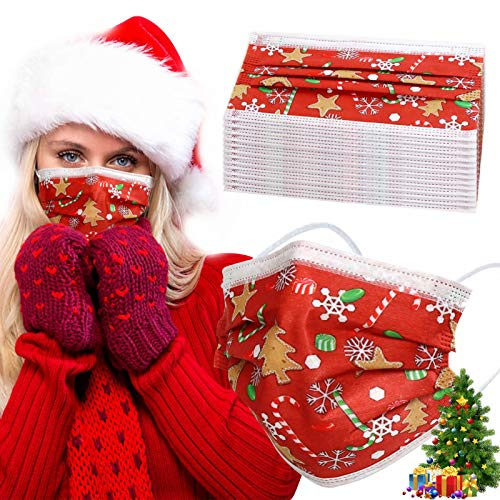 Christmas Disposable Face Mask Adult - 3-ply Breathable Anti Dust Filter Safety Mask, Protective Mouth Cover for Women Men (50Pcs, As pics)