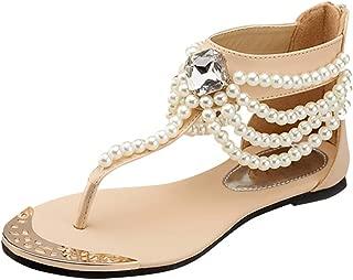〓COOlCCI〓 Womens Summer Beach Flat Sandals String Bead Rhinestone Shiny Beads Slip On Flip Flops Thong Shoes