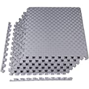 """BalanceFrom 1"""" EXTRA Thick Puzzle Exercise Mat with EVA Foam Interlocking Tiles for MMA, Exercise, Gymnastics and Home Gym Protective Flooring (Gray), One Inch Thick, 24 Square Feet"""