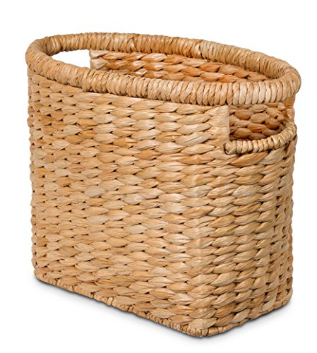 BIRDROCK HOME Seagrass Magazine Holder - Natural - Hand Woven Basket - Upright Living Room Organizer - Paper - Stylish Decorative Design - Slim Frame