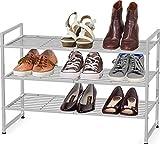 Simple Houseware 3-Tier Stackable Shoes Rack Storage Shelf, Silver
