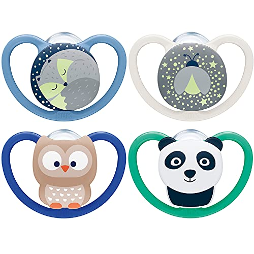 NUK Space chupetes para bebés noche y día | 18-36 meses | Chupetes que brillan en la oscuridad con ventilación adicional | Silicona sin BPA | Azul | 4 unidades