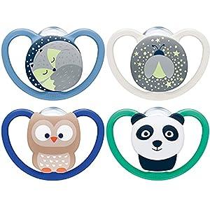 NUK Space chupetes para bebés noche y día   18-36 meses   Chupetes que brillan en la oscuridad con ventilación adicional   Silicona sin BPA   Azul   4 unidades