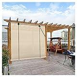 XJJUN Sonnenschutzrollos, Atmungsaktives Filterlicht 90% UV-Beständigkeit Sichtschutz Außenrollos, Für Pergola-Pavillon (Color : Beige, Size : 1.5x2m)