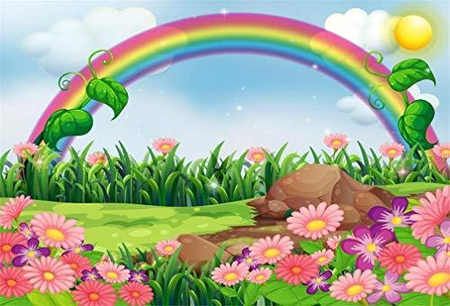 EdCott 7 x 5 ft dibujos animados paisaje primavera fondo abstracto arco iris prado flores fotografía dulce flores cielo nubes luz solar paisaje de verano rural estudio fotográfico accesorios bebé