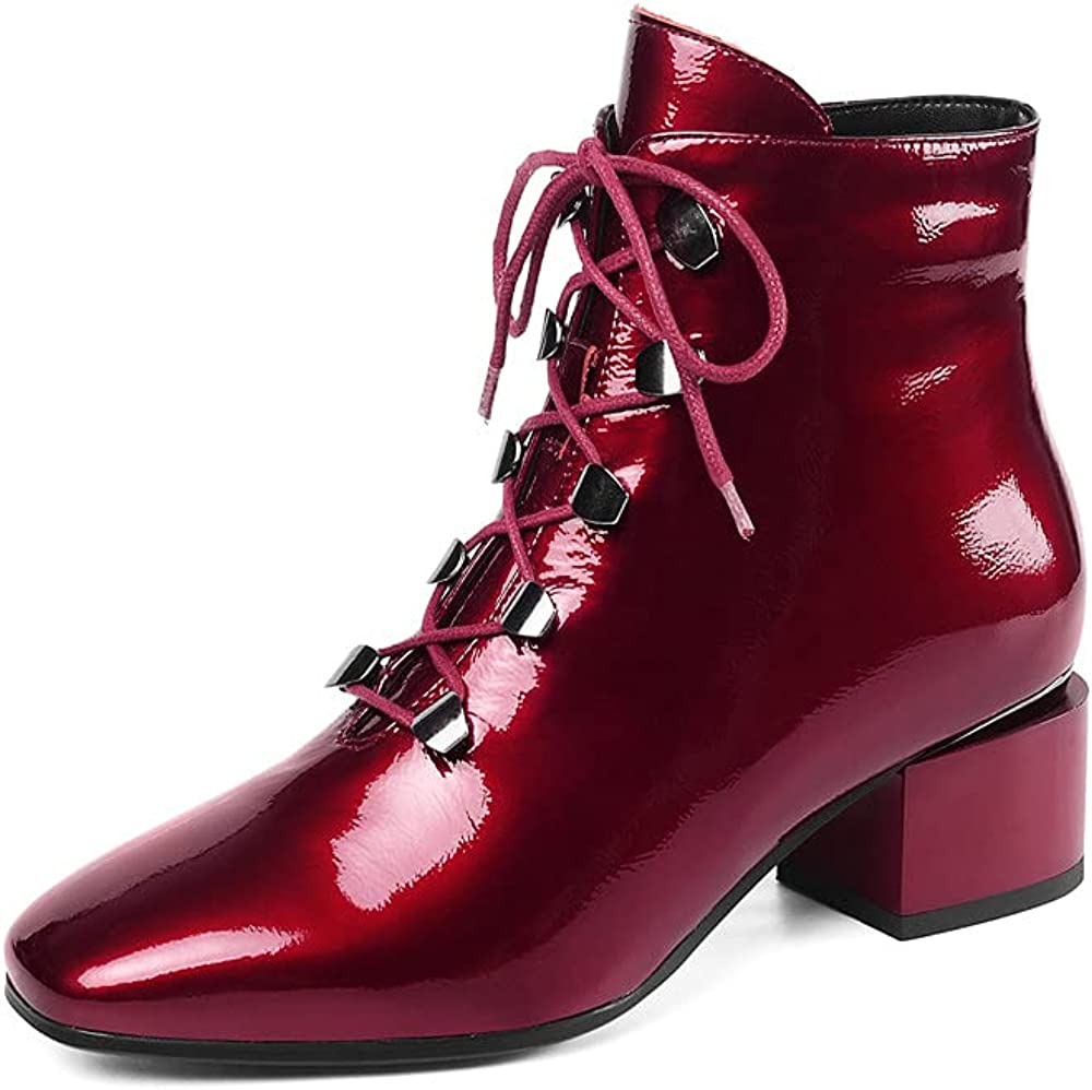 TinaCus Women's Square Al sold out. Toe Patent Ranking TOP10 Lace-Up Side Leather Handmade