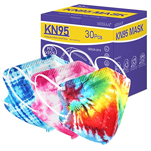 MISSAA Kids KN95 Face Masks for Children 30 Pack, 5-Layers Tie-dye Kids Disposable Mask with Elastic Ear Loop for Boys, Girls, Indoor, Outdoor Use