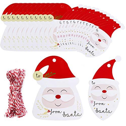 100 Piezas Etiquetas de regalo Navidad Papel Kraft Etiquetas con 32.8 FT Yute Twine String, Etiquetas de Regalos 2 diseños Christma imprimibles para bricolaje Navidad Holiday Wrap de regalo Bolsas