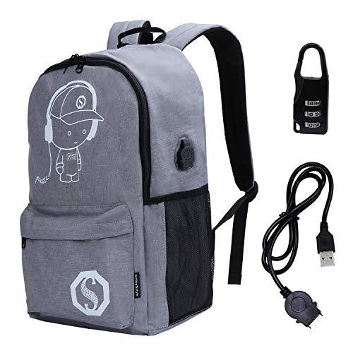 TsunNee Leuchtender Rucksack mit USB-Ladeanschluss, coole Anime Jungen Mädchen Schultasche, modischer Reise-Laptop-Rucksack mit Anti-Diebstahl-Schloss, grau