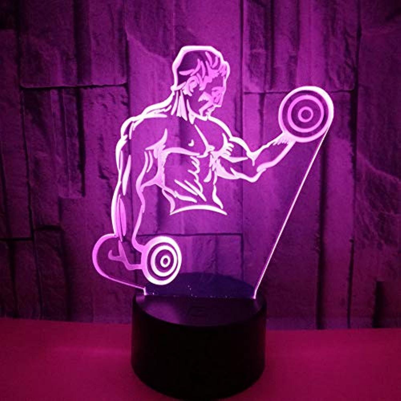 Fdlzz Muscle Mnner 3D Lampe Hantel Fitness Sieben Bunte Schreibtischlampe Touch-Fernbedienung Controlgift 3D Führte Visuelle Lampen,Berührungsschalter
