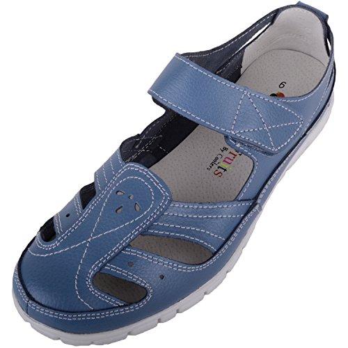 Sandales décontractées en cuir pour femme, blueberry,...