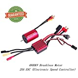 2435 4800KV Brushless Motor Sensorless 2mm With 25A ESC Electronic Speed Controller Combo Set Splashproof for 1/16 1/18 RC Car Truck Running Off-Road Vehicle by Crazepony-UK