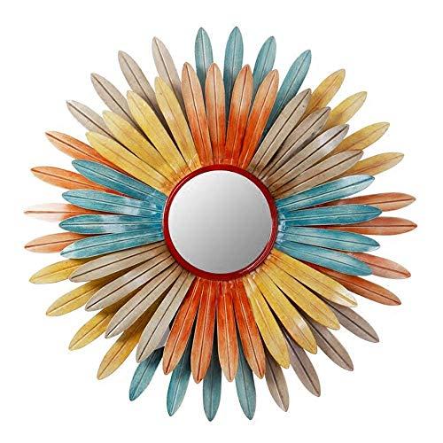 Gymqian Ilustraciones Pared Del Metal Decoración de la Pared, Color 3D Crisantemo Espejo de Hierro Forjado Crafts de Personalidad Inicio Colgar de la Pared 25.6X25.6Inch Listo para