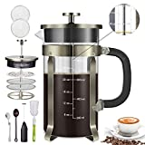 Homost French Press Coffee Tea Maker 34 oz 8 cups 304 Stainless Steel Double Sides Precise Scale,Thick Durable Heat Resistant Glass,With Milk Frother & 2 Screens, Copper