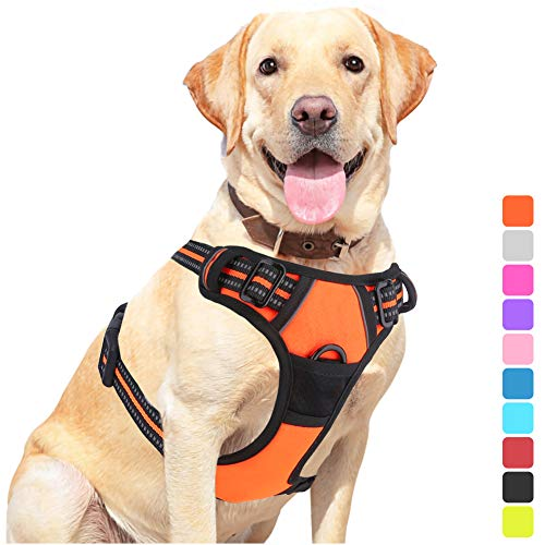 Vovodog Dog Harness No-Pull Pet Harness, Adjustable Outdoor Walking Pet Reflective Oxford Soft Vest with 2 Metal Rings and Handle Easy Control for Small Medium Large Dogs