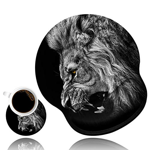 LACOMA Ergonomic Mouse Pad Wrist Support and Coffee Coaster, Cute Wrist Rest Pad with Non-Slip PU Base for Home Office Working Studying Easy Typing & Pain Relief, Lion Roaring