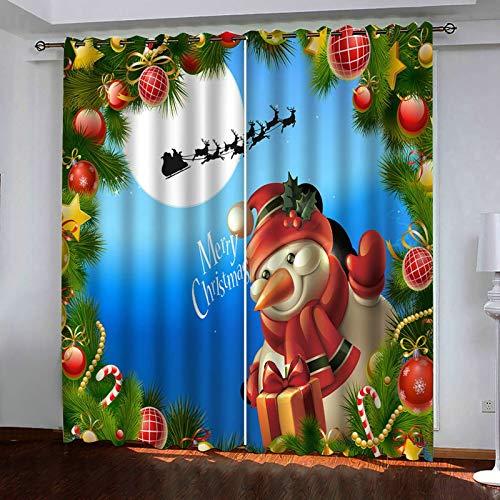 ANAZOZ 2 Paneles Cortinas Opacas Cortina Poliester Habitacion Decoración de Navideño con Monigote de Nieve y Papá Noel Azul Verde Rojo Blanco Cortinas Habitacion Tamaño 214x115CM