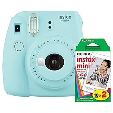 Fujifilm Instax Mini 9 (Ice Blue) Instant Camera with Mini Film Twin Pack