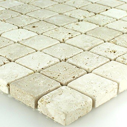 Travertin Naturstein Mosaik Fliesen Beige Getrommelt