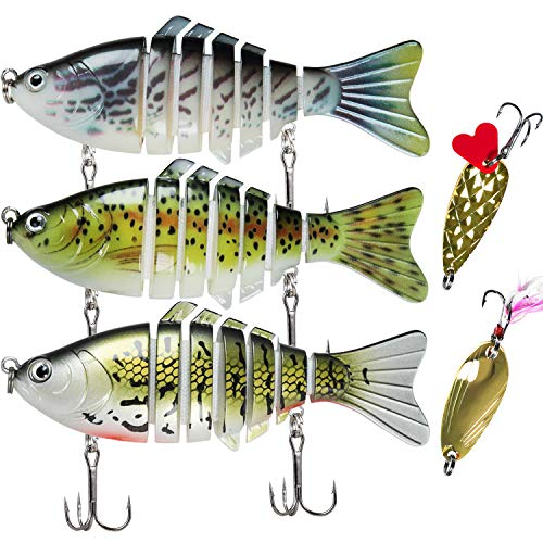"TRUSCEND Fishing Lures for Bass 4"" Segmented Multi Jointed Swimbaits Slow Sinking Bionic Swimming Lures Freshwater Saltwater Bass Fishing Lures Kit Lifelike"