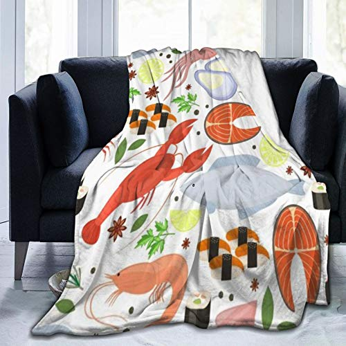 ZOMOY Flannel Fleece Soft Throw Blanket,Seafood Dill Spices Cooking Culinary Gourmet Steak Restaurant Menu Textures Food Ingredients,for Settees/Sofa/Chairs/Couch,Warm and Cozy(127x102cm)