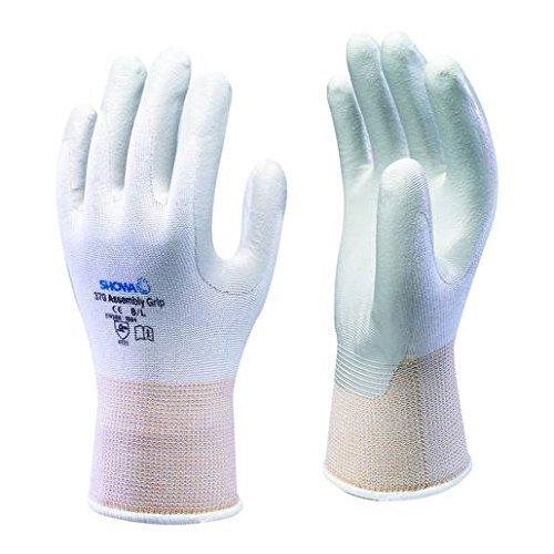 Showa 370 10 Paar weiß Montage-Handschuh, Handfläche aus Nitril beschichtet, Gr. Large