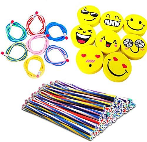 BigLion 80 Piezas Lapices Flexibles Bendy Mágicos Juguete Flexible Pencils Gomas Borrar Emoji Borradores Emoticon Rellenos Bolsas Fiesta Niños Party Bag Diversión Equipo Escuela Regalo DIY Juguete