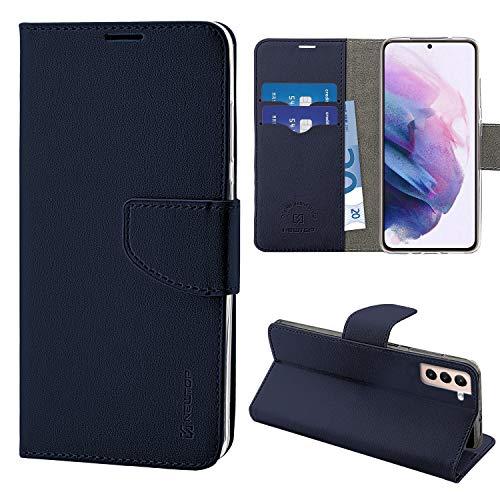 N NEWTOP Cover Compatibile per Samsung Galaxy S21, HQ Lateral Custodia Libro Flip Chiusura Magnetica Portafoglio Simil Pelle Stand (Blu)