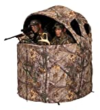 Hunter Blinds Two Man Tent, Sturdy and Durable, Made With 150 Denier Polyester With Shadow Guard Coating In Real Tree Pattern For Best Camoflage, Custom Front And Side Zippered Windows, Custom Chairs With Cup Holders And Carefree Back Pack Carrying Case, Assembles Quickly And Easily In Minutes.