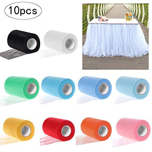 JJYHEHOT 10 Rollos de Cinta de Tul de Colores Surtidos para Bodas Fiestas Tela Enrollada de Tul de Bricolaje Decoración Artesanal