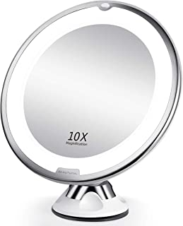 BEAUTURAL 10X Magnifying Makeup Mirror with LED, Lighted Magnifying Vanity Makeup Mirror for Home Tabletop Bathroom Shower Travel, 360 Degree Rotation, Powerful Suction Cup