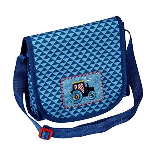 Die Spiegelburg Kleine Freunde Umhängetasche Traktor Tasche Kindergarten Jungen Blau 20 x 18,5 x 7 cm