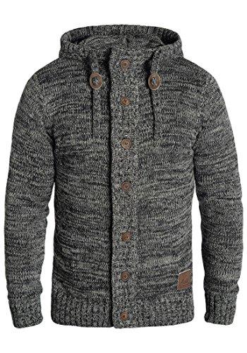 !Solid Pierrot Herren Strickjacke Cardigan Grobstrick Winter Pullover mit Kapuze und Knopfleiste, Größe:L, Farbe:Black (9000)