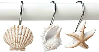 BBtime Hooks,Story of The sea Bathroom Window Decorative Natural Seashell Starfish Shower Curtain Bedroom Hangings Holder Ring for Baby Room,Living Room Decor - 2019 (12Pcs)