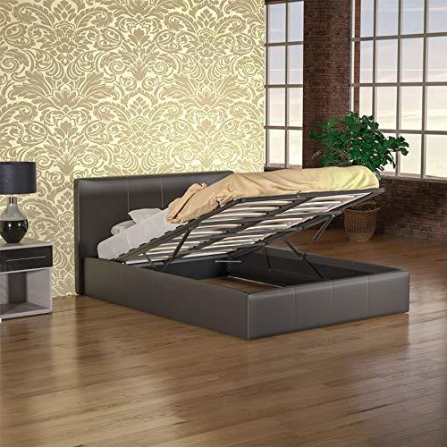 Vida Designs Lisbon Ottoman Double Bed 4ft6 Brown & Ultimate Memory Foam Mattress Faux Leather Frame Medium Firmness 9 Inch Cream Upholstery UKFR