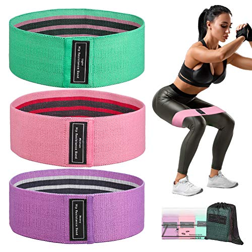 ZeeStar Resistance Exercise Bands Loop Stretch Fitness Bands Elastic Sports Workout Band for Squat Legs Butt Hip Training Pack of 3