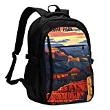 asfg Resistente a Las Manchas Grand Canyon Multifunctional Personalized Customized USB Backpack, Student School Outdoor Backpack,Travel Bag Laptop Bookbags Business Daypack.