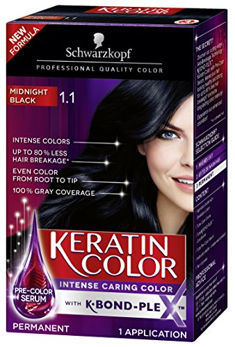 Schwarzkopf Keratin Color Permanent Hair Color Cream, 1.1 Midnight Black (Packaging May Vary), Pack of 1 Georgia