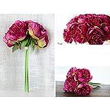 globalqi Unechte Blumen,Künstliche Deko Blumen Gefälschte Blumen Seidenrosen Plastik 5 Köpfe...