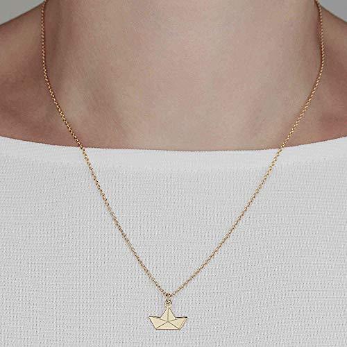 SCHOSCHON Damen Halskette Papierboot Silber vergoldet // Geschenk Mädchen Teenager Kette Boot Papierschiff Origami Schmuck Papierschiffchen Segelschiff
