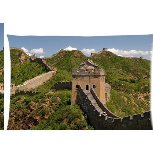 Great Wall Tourist Paysage Photo Housse d'oreiller zippée 50,8 x 76,2 cm