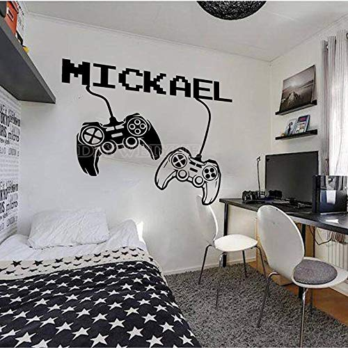 WERWN Custom name game control wall decal game player personalized name wall sticker game game room decoration vinyl boy children room decoration 110X92cm