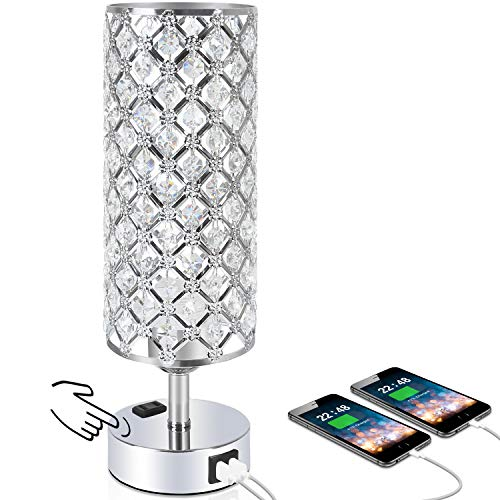 Touch Control Crystal Table Desk Lamp with Dual Fast Quick USB Charging Ports and AC Outlet, Acaxin 3-Way Dimmable Bedside Light with Bulb, Nightstand Lamps for Bedroom, Guest Room-Silver