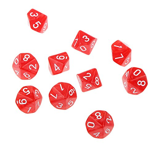 10pcs Juegos de Mesa Dados de Diez Caras 0~9 D & D TRPG - Rojo