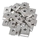 T6-Gleitmuttern aus silbernem Kohlenstoffstahl M6-Gewinde für Aluminiumprofil-Extrusionsschlitz der europäischen Standard-30-Serie Packung mit 30 Stück
