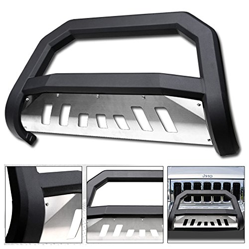 VXMOTOR 2005-2007 Jeep Grand Cherokee ; 2006-2010 Jeep Commander Matte Black AVT Style Edge Bold Bull Bar Brush Push Front Bumper Grill Grille Guard with SS Aluminum Skid Plate