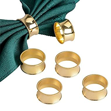 Derker Set of 12 Beaded Round Napkin Rings for for Wedding, Party, Holiday, Dinner (12pcs Gold)