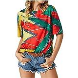 AMhomely Camisa y blusas para mujer con cuello en O suelto, blusa informal de manga corta, blusa de manga corta, blusa de oficina