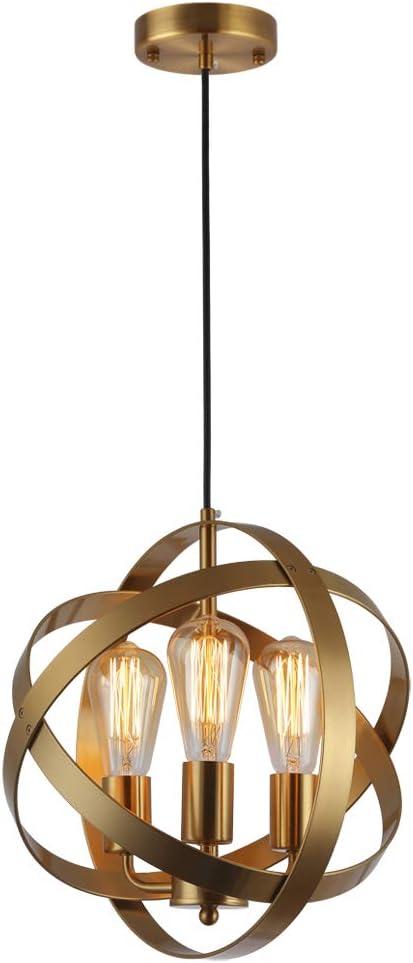 KOONTING 3-Light Industrial Sacramento Mall Spherical Attention brand Globe Metal Pendant Light