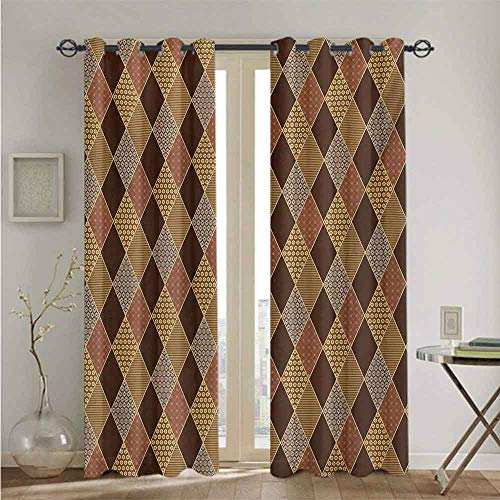 Earth Tones Best Home Fashion Thermal Insulated Blackout Curtains Lozenge Pattern in Patchwork Style Striped and Floral Rhombus Brown Shades 2 Panel Darkening Curtains W84 x L84 Brown Yellow